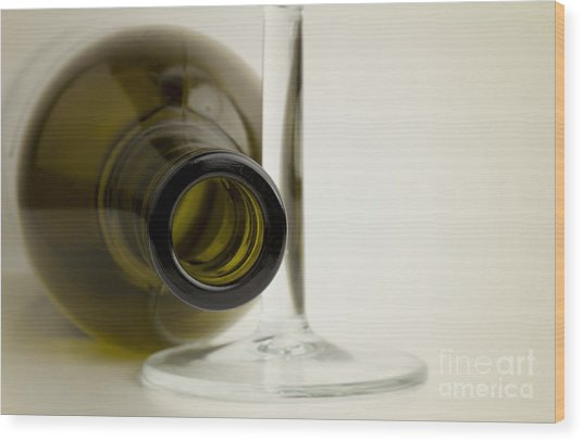Wine Bottle Wood Print by Blink Images
