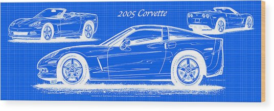 2005 Corvette Blueprint Series Wood Print