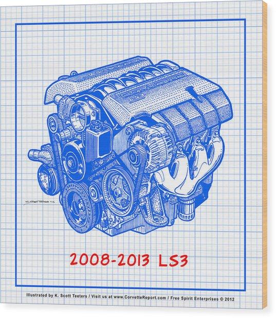 2008-2013 Ls3 Corvette Engine Blueprint Wood Print