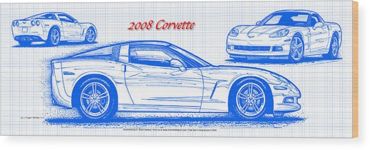 2008 Corvette Blueprint Wood Print