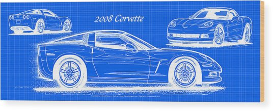 2008 Corvette Reverse Blueprint Wood Print