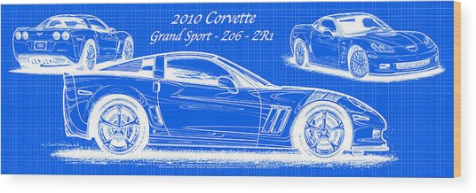 2010 Corvette Grand Sport - Z06 - Zr1 Reverse Blueprint Wood Print