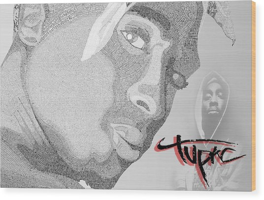 2pac Text Picture Wood Print by Aaron Parrill