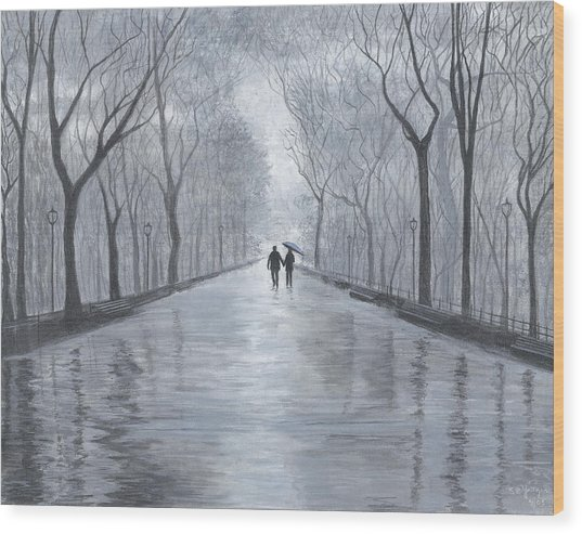 A Walk In The Park In Black And White Wood Print