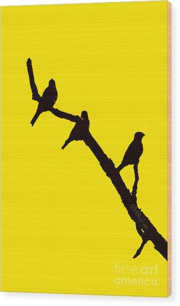 3 Birds On A Limb Wood Print