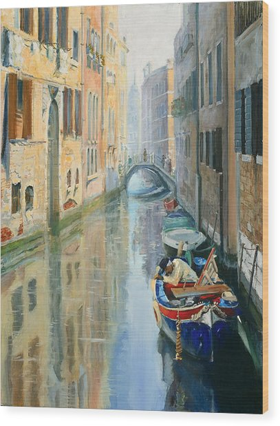 Canals Of Venice  Wood Print by Larisa Napoletano