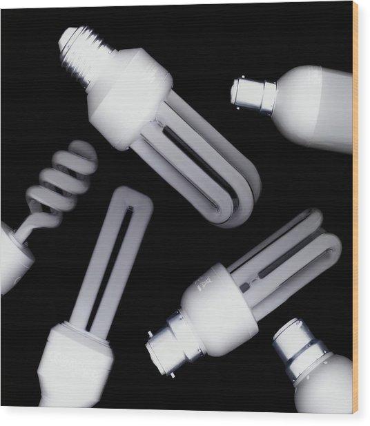 Energy-saving Light Bulbs Wood Print by Mark Sykes