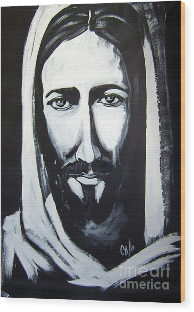 Face Of Christ Wood Print
