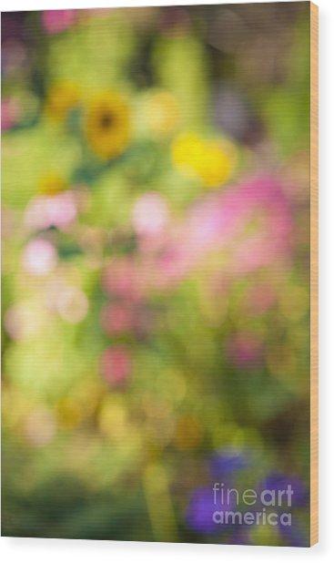 Flower Garden In Sunshine Wood Print
