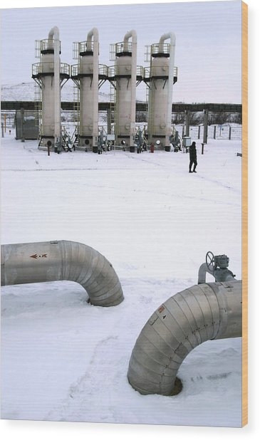 Gas Fuel Compressor Plant Wood Print by Ria Novosti