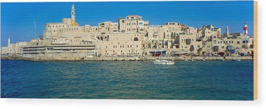 Jaffa Harbour Panorama Wood Print by Daniel Blatt