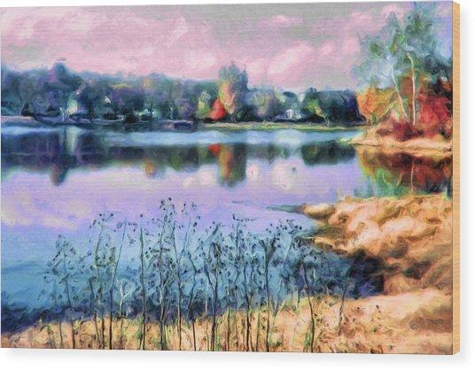 Longview Lake Wood Print by Laurie Douglas