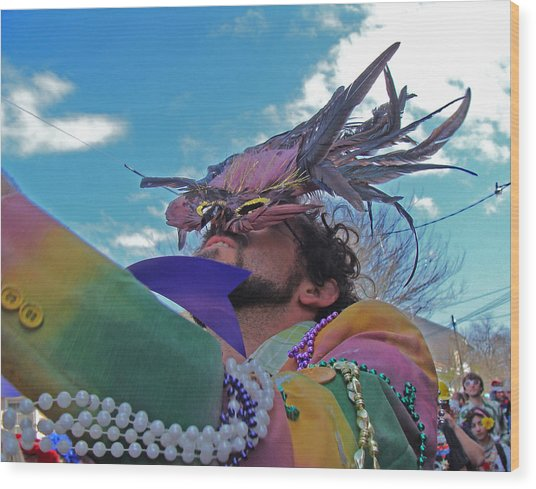 Mardi Gras Day In New Orleans Wood Print