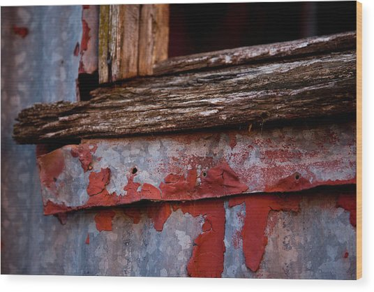 Red Shed Series Wood Print