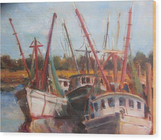 3 Shrimpers At Dock Wood Print by Albert Fendig