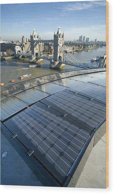 Solar Panels On City Hall, London, Uk Wood Print
