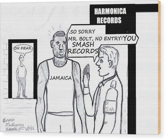 Usain Bolt V Security Guard Wood Print