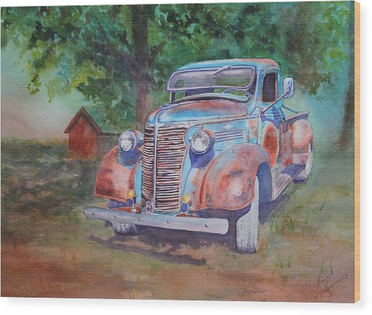 Wood Print featuring the painting '38 Chevy by Ruth Kamenev