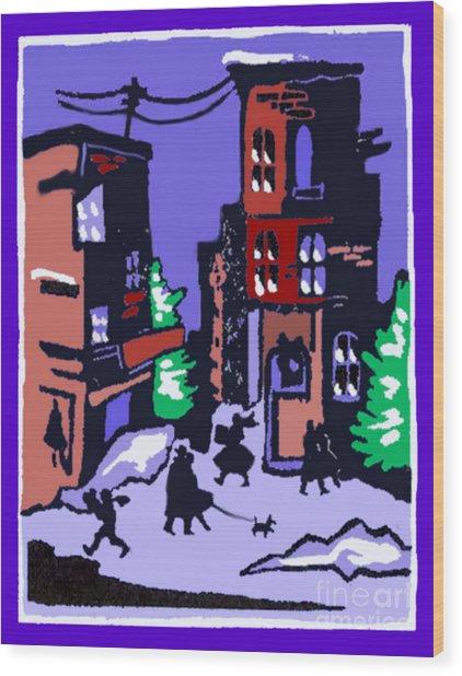Christmas Street Scene Wood Print