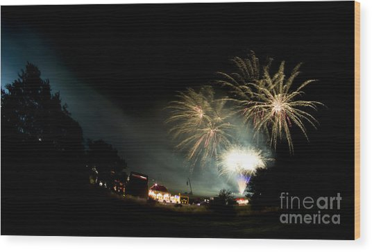 Fireworks Wood Print by Angel Ciesniarska
