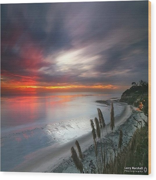 Long Exposure Sunset At A North San Wood Print by Larry Marshall