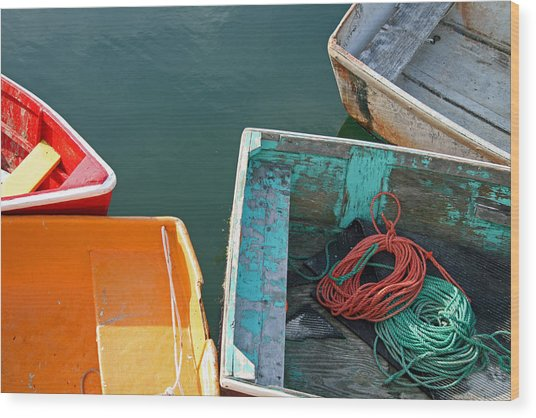 4 Row Boats Wood Print