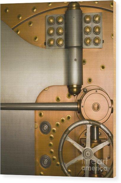 Tumbler On A Vault Door Wood Print by Adam Crowley
