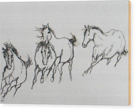 4 Wild Horses  Wood Print