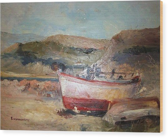 Boats Wood Print by George Siaba