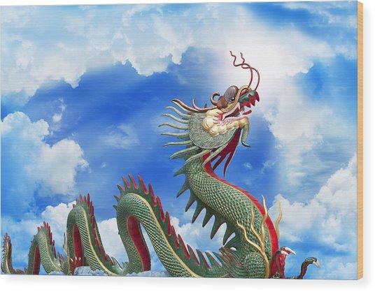 Giant Golden Chinese Dragon  Wood Print by Anek Suwannaphoom