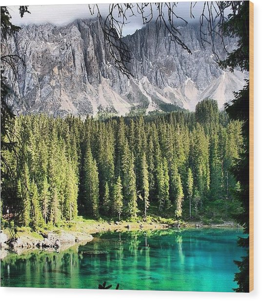 Lake Of Carezza Wood Print