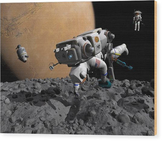 Mission To Mars, Artwork Wood Print by Walter Myers
