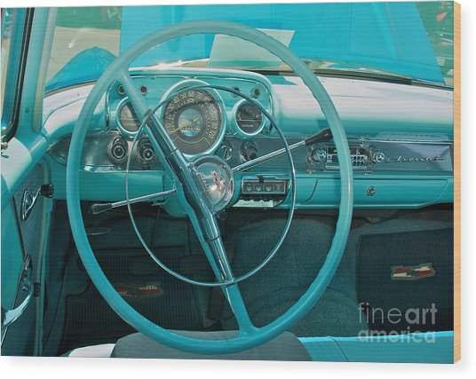 57 Chevy Bel Air Interior 2 Wood Print