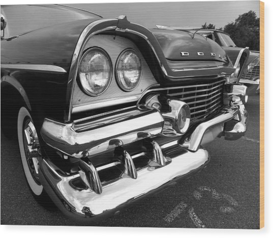 58 Plymouth Fury Black And White Wood Print
