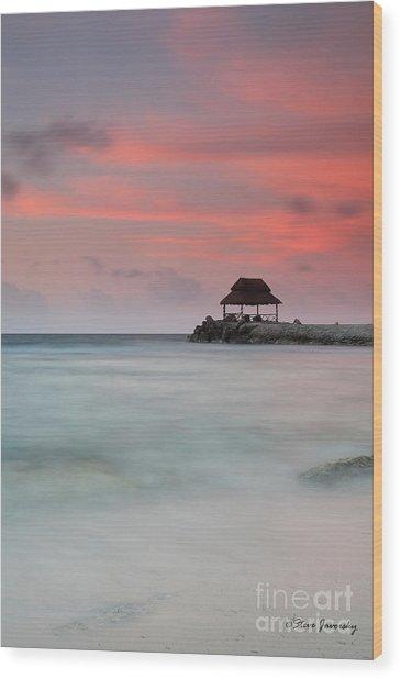 Sea Scape Sunrise Wood Print