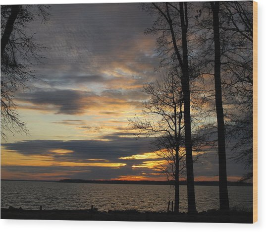 Sunset Chesapeake Bay Wood Print by Valia Bradshaw