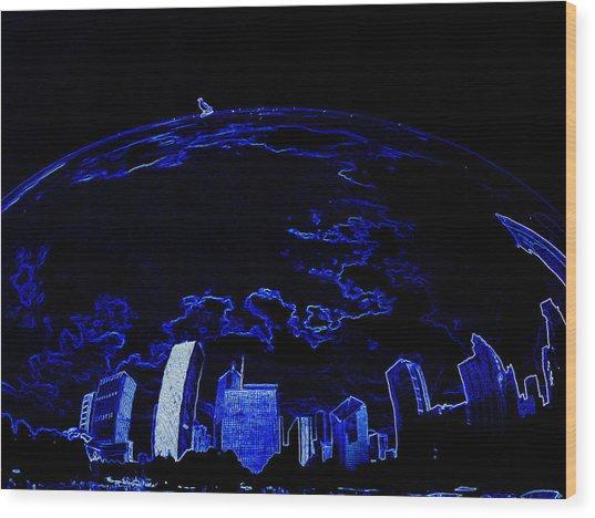 A Bird And Blue World Wood Print