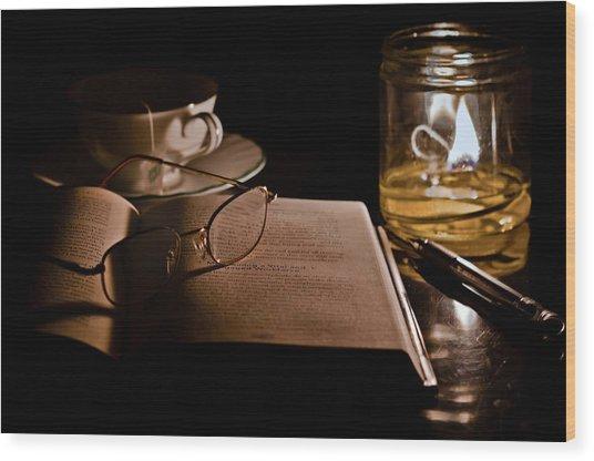 A Candlelight Scene Wood Print