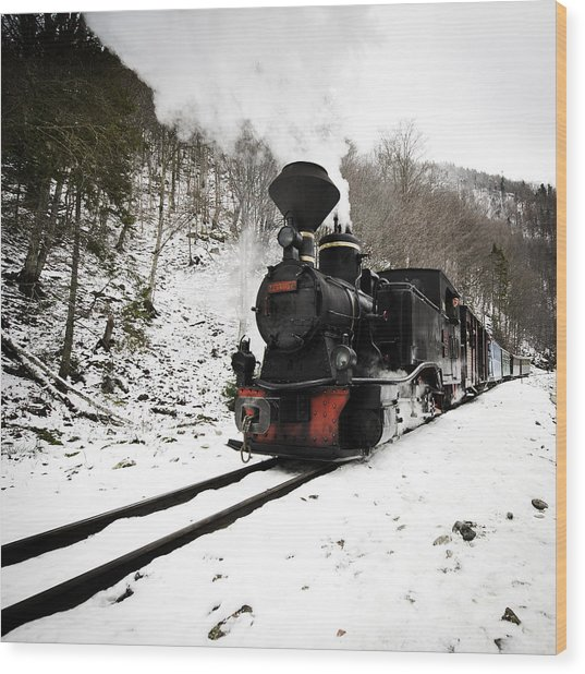 A Century Train Wood Print by Ovidiu Bastea