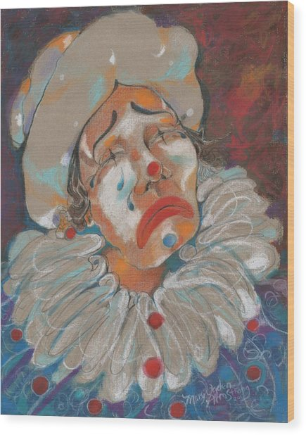 A Clown Face Wood Print by Mary Armstrong
