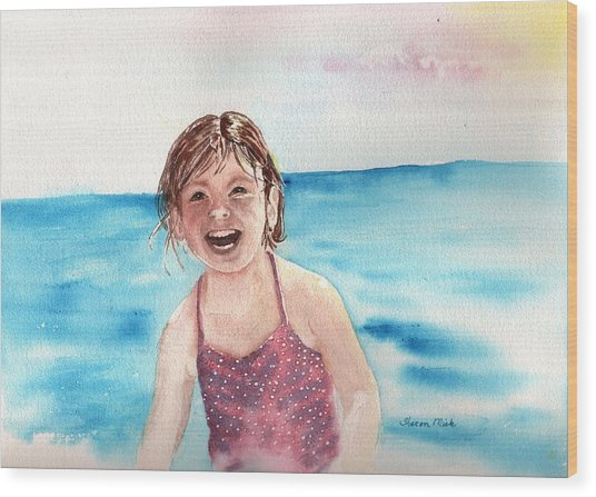 A Day At The Beach Makes Everyone Smile Wood Print