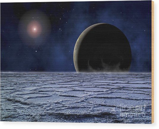 A Distant Star Illuminates An Wood Print