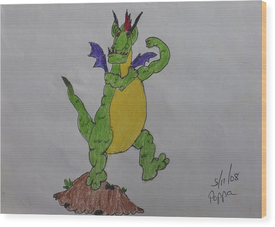 A Dragon Cartoon Character Wood Print