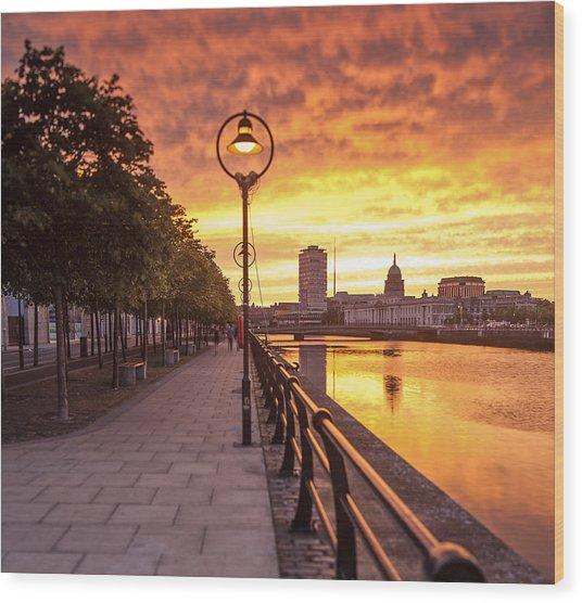 A Dublin Sunset Wood Print by Brendan O Neill
