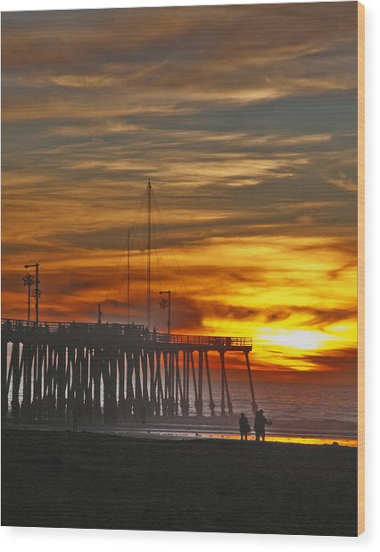 A Firey Sunset- Pismo Beach Wood Print