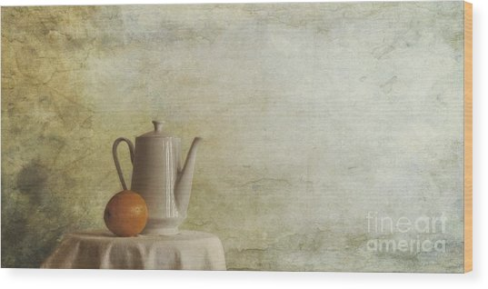 A Jugful Tea And A Orange Wood Print