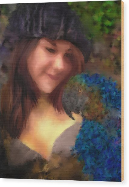 A Lass With Her Parrot Wood Print by Jill Balsam