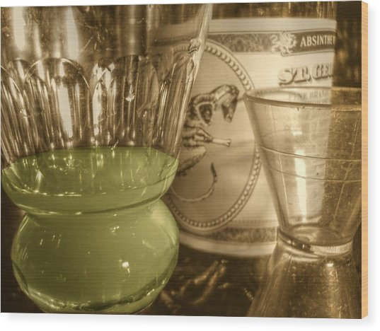 A Macro Sepia And Green Of Absinthe Wood Print by Jennifer Holcombe