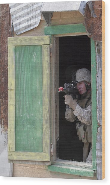 A Marine Posts Security Out Of A Window Wood Print