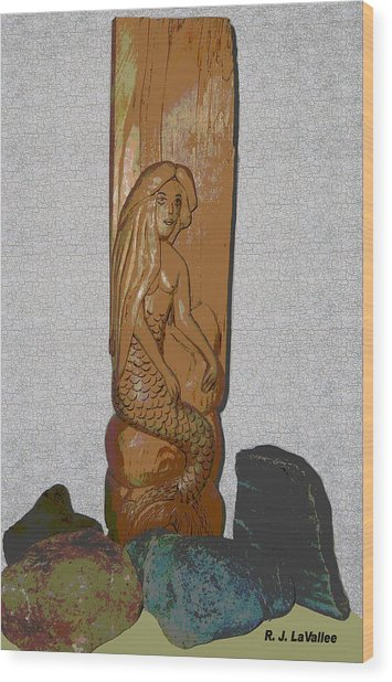 A Mermaid Of Pine Wood Print